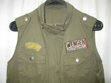 Mens Small US ARMY Wengen Switzerland Red Cross Snap Button Full Zip VEST