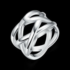 HOT 925 sterling Solid silver fishnet rings Size8 #P173