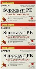 Sudogest PE Phenylephrine Nasal Decongestant 36ct ( 3 PACK ) = 108 tabs