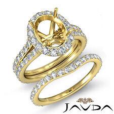 Oval Halo Diamond Semi Mount Engagement Ring Bridal Set 18k Gold Yellow 1.80 ct.
