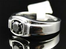 White Gold Finish Round Cut Black Diamond Solitaire Wedding Band Ring 9MM .53 Ct