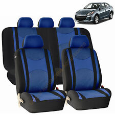 BLUE AIRBAG & SPLIT Bench SEAT COVERS 9pc SET for MAZDA 3 5 CX-9