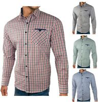 Mens Checked Long Sleeve Shirt Cotton Premium Shirt Size UK EU Size S M L XL XXL