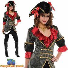 Pirate Jacket Black & Gold Swashbuckler Adult Womens Fancy Dress Costume