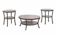 3 Piece Modern Round Coffee Table & 2 End Tables Living Room Set in Rust