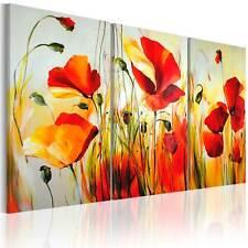 100% Handgemalt – Gemälde / Bilder Leinwand 3 Teile Blumen 120x80 22035_MK