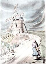 AQUARELLE COULEUR VIEUX MOULIN / Moulin d' Eaucourt sur Somme ( Somme)