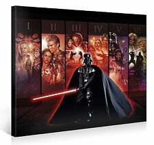 Star Wars – Movie Picture Collage 1-6 – Wand-Bild 100x75cm – XXL Leinwand-Druck