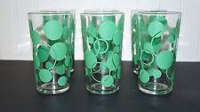6 VINTAGE DRINKING GLASSES GREEN POLKA DOTS - MCM                 (H1)