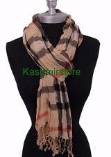 New Lady Women fashion Scarf Wrap Shawl Plaid Cozy Checked Soft cotton blend