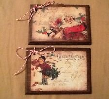5 WOODEN Vintage Postcard Christmas Ornaments/HangTags/Winter GiftTags SET--45