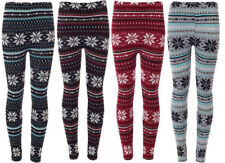 New Women's Christmas Fair Isle Soft Knitted XMAS Snowflake Leggings Size 8-14