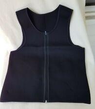 Men's Large Neoprene Sauna Vest Sweat Workout Shirt Body Zip Tank Top