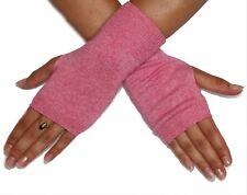"Silk Cashmere knit Fingerless warm Gloves BubbleGum Pink 8"" long OneSize Unisex"