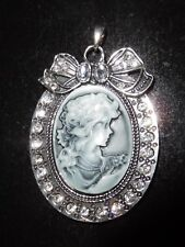 Large Grey Cameo Pendant ~ Silver Tone Base Surrounded by Rhinestones Bow at Top