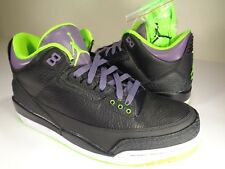 Nike Air Jordan 3 III Retro Joker Black Green Purple White SZ 9.5 (136064-018)