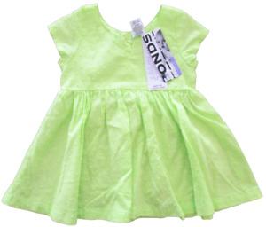 Baby Girls Dress Bonds Newbies Summer Short Sleeves Lime Green Party Play 000