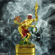 "Thai Amulet Red Mask PranBoon Manorah Mini Statue Bronze Gold Paint 5""Tall"