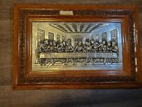vintage tooled religious last supper Jesus metal silver relief art wall plaque