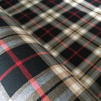 Polyviscose Tartan Fabric Stewart Black 1//4 metre increments