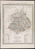 1839 - Carte géographique ancienne de Haute-Vienne. Département France. Gravure
