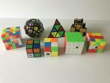 Lot of 8 Rubik's Cubes 5 4 3 2 Sided Pyramid Megaminx Speed Brain Teaser Puzzles
