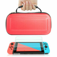 Nintendo Switch Red Carbon Fiber Carrying Bag Case+2pc Tempered Glass Screen