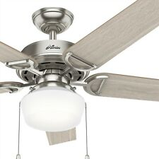 Hunter Fan 52 inch Brushed Nickel Traditional Indoor Ceiling Fan with Light Kit