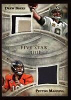 PEYTON MANNING DREW BREES 1/10 #1 DUAL JERSEY LOGO PATCH SP 2014 TOPPS FIVE STAR