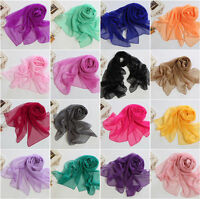 New Fashion Lady Girls Soft Chiffon Scarf Wrap Shawl Silk Solid Stole Scarves