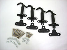 1928 1929 Ford Model A BLACK Hood Latches w Pads & Screws Kit Set of 4 Latch