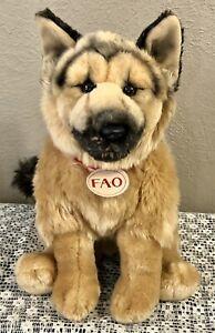 "FAO SCHWARZ German Shepherd 2015 Toys R Us 15"" Plush Stuffed Animal Dog - EUC!"