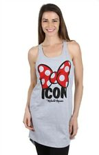 Womens Juniors Minnie Icon Polka dot Bow Racerback Long T-Shirt Heather Gray