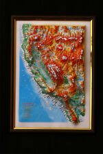California Map 3D Raised Relief Framed Map Amazing Decorative Bird's-Eye View