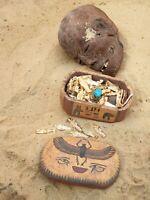 Rare Antique Ancient Egyptian Wood Jewelry Box+61 Silver Gild Ushabti Ring2480BC