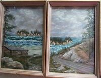 2 Original Signed Ben Foster Paintings Coastal Landscape Cabin Trees Dated 1930