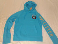 NEW NWT Mens Hollister Hoodie Sweater sweatshirt pullover BLUE TEAL S SMALL SOFT