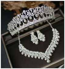 Wedding Bridal Crystal Pearls Crown Headband Tiaras Necklace Earring Jewelry Set