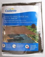 Coolaroo Ready To Hang 13x7 ft Rectangle Shade Sail with Ropes - Mocha Brown NIP