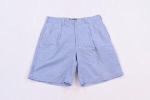 Vintage 90s Ralph Lauren Mens 35 Tyler Short Pleated Front Plaid Shorts Blue