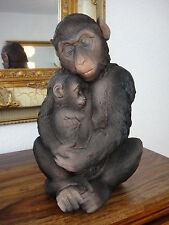 Deko Figur Affen Paar Äffchen Affe mit Baby Schimpanse Gartenfigur Skulptur NEU