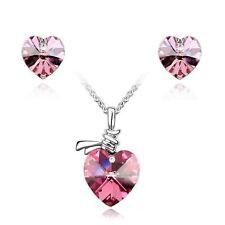 Women's Crystal Stone Love Heart Pendant Necklace & Earrings Pink Gift Set UK