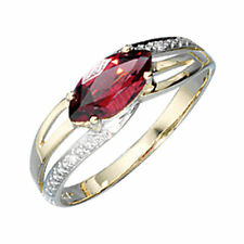 Damen Ring 585 Gold 14ct Bicolor 1 Granat rot 2 diamanten brillanten 30520-56