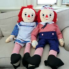 """Vintage Applause 48"""" 4ft Dancing Raggedy Anne and Andy Stuffed Dolls. With Tags"""