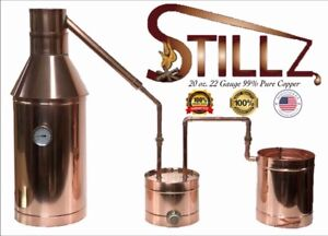StillZ 6 Gallon Copper Moonshine Still+Thumper+Worm-Heavy 20oz Copper -Whiskey