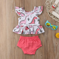 Toddler Infant Baby Girl Dinosaur T-shirt Top+Shorts Pants Summer Outfit Clothes