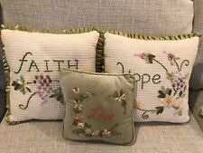 Set of 3 throw pillows with ribbon embroidery. Faith, Hope, and Love. Excellent