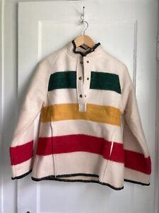 Woolrich Small Hudson Bay Stripe Wool Pullover Jumper Sweater Jacket 1/4 Snap