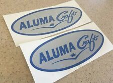 """AlumaCraft Vintage Fishing Boat Decals 12"""" Blue Silver Free Ship + Fish Decal!"""