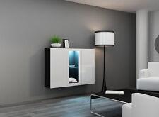 Kommode Sideboard Highboard Hängeschrank CARA weiß hochglanz schwarz LED